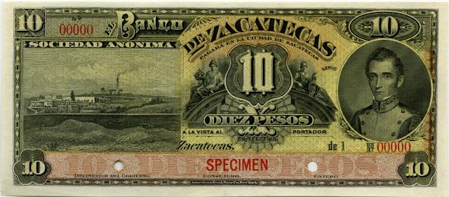 Mexico paper money 10 Pesos banknote