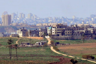 Gaza city as seen from Sderot