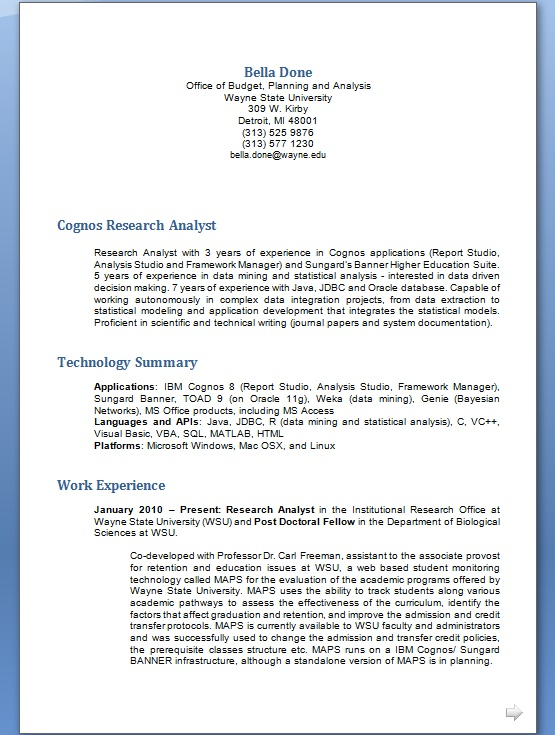 Cognos Research Analyst Resume Format in Word Free Download