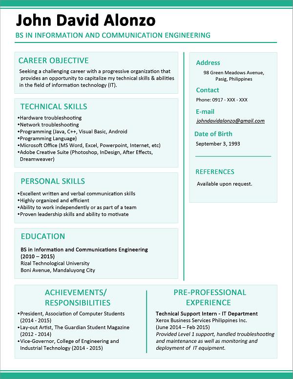 5 contoh resume satu halaman contoh resume terbaik dan