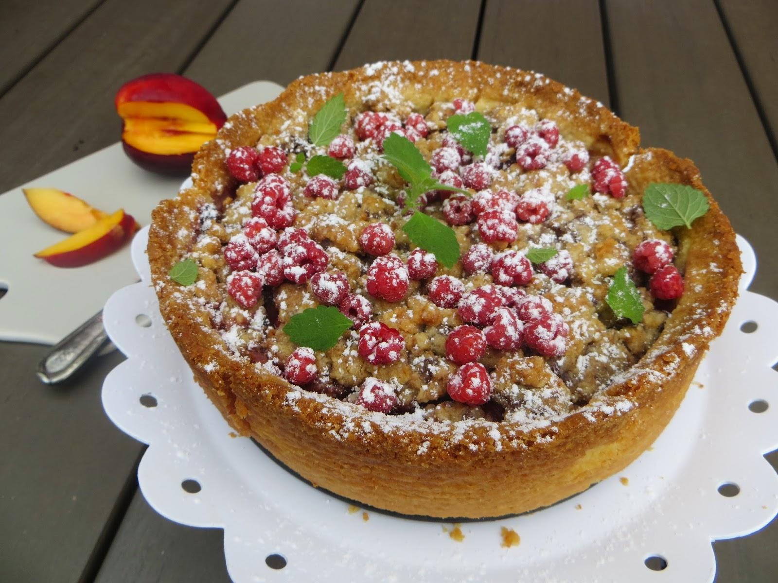 Matildas Kafferep  Hallon- och persikopaj med vaniljkräm och ... aba8bef905608