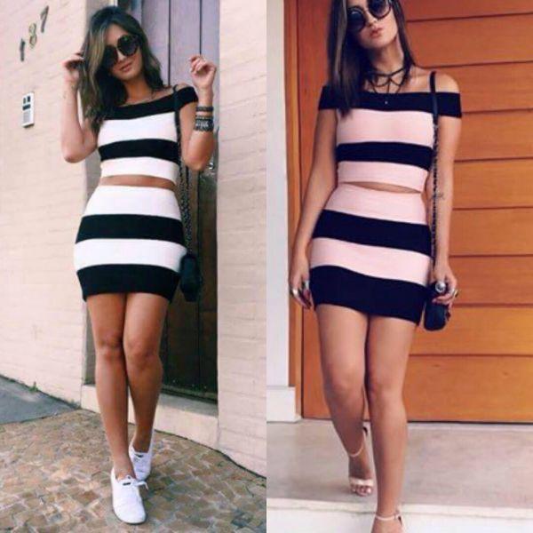 Cropped E Saia Bandagem, cropped, saia, roupas da moda, roupa, moda, comprar roupas, roupa preto e branco, blusas da moda, saia bandage