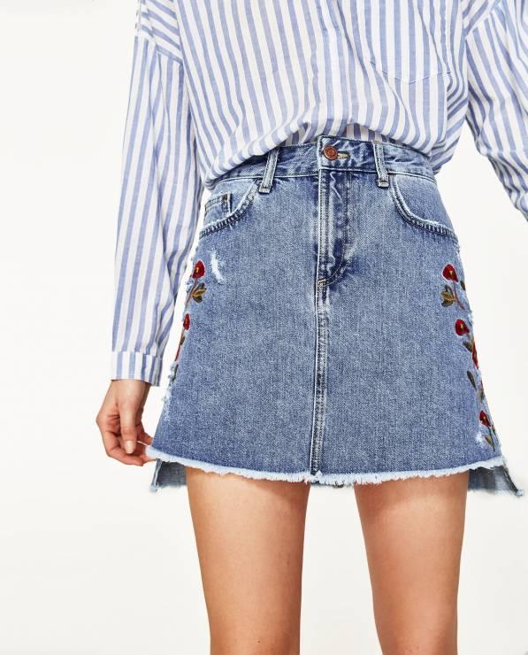 jeansowa spódnica denim haftowana ZARA