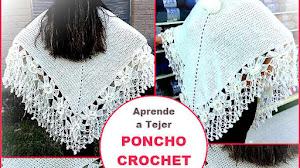 Aprende a Tejer Poncho Crochet con borde de Flores / Video Tutorial