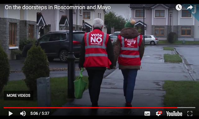A captured video frame of canvassers out in Roscommon and Mayo