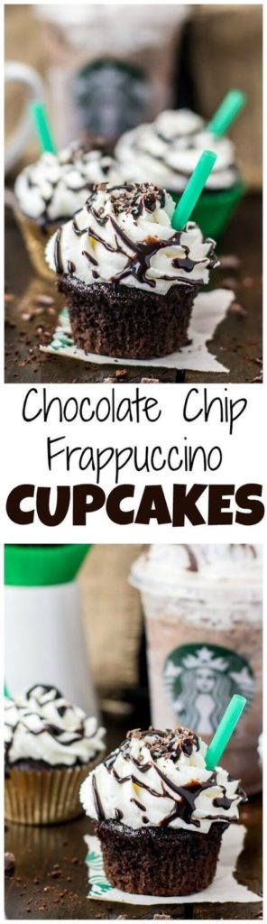 New Copycat Starbucks Double Chocolate Chip Frappuccino Cupcakes