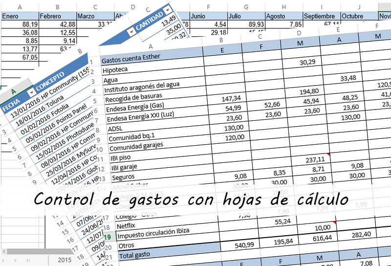 Control de gastos con hojas de cálculo