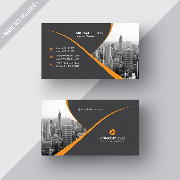 Black business card with orange details Free Psd