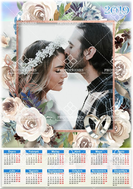 Plantilla para fotocalendario de bodas para el año 2019