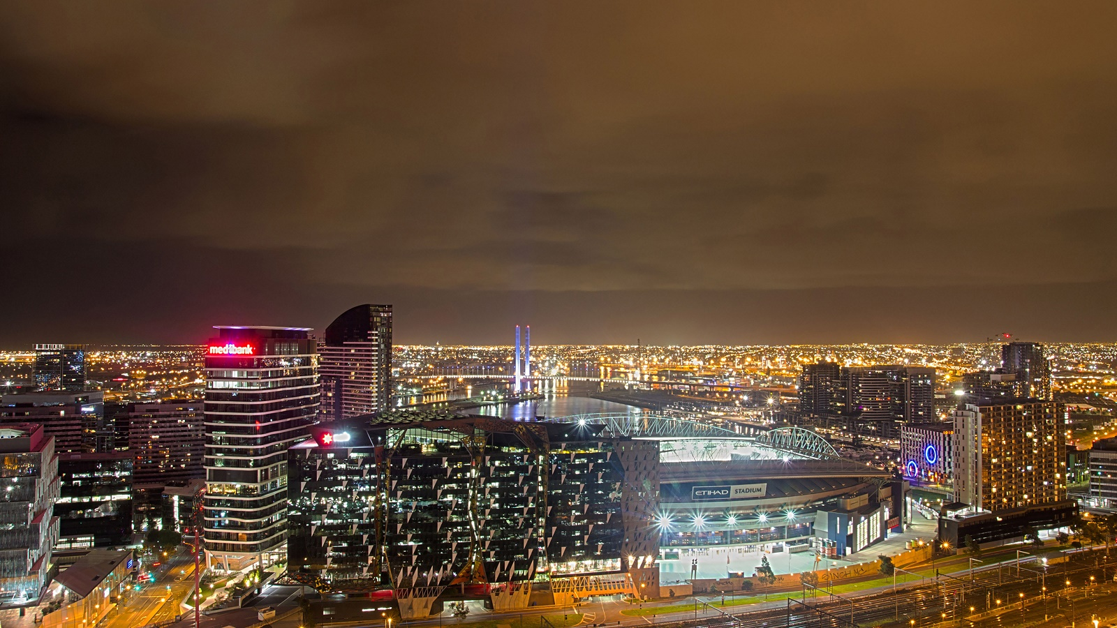Manchester Wonderful Skyline At Night England HD Desktop ...
