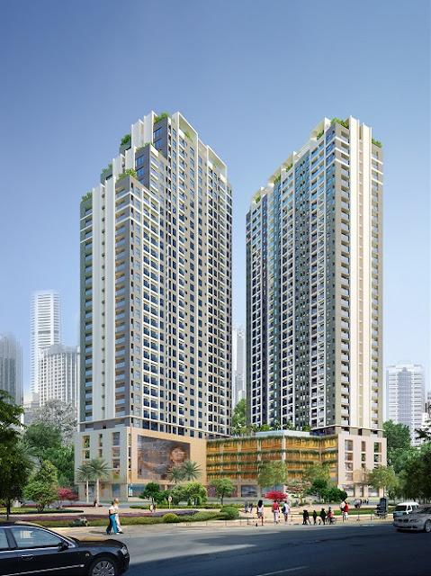 Phối cảnh chung cư HH6 - The Golden An Khánh