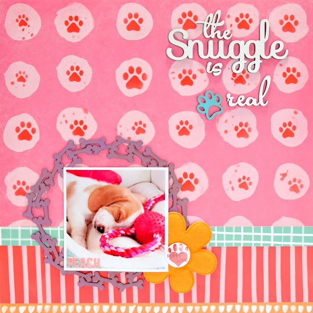 The Snuggle Is Real Puppy Scrapbook Layout with Stenciled Paw Prints and Chipboard Embellishments