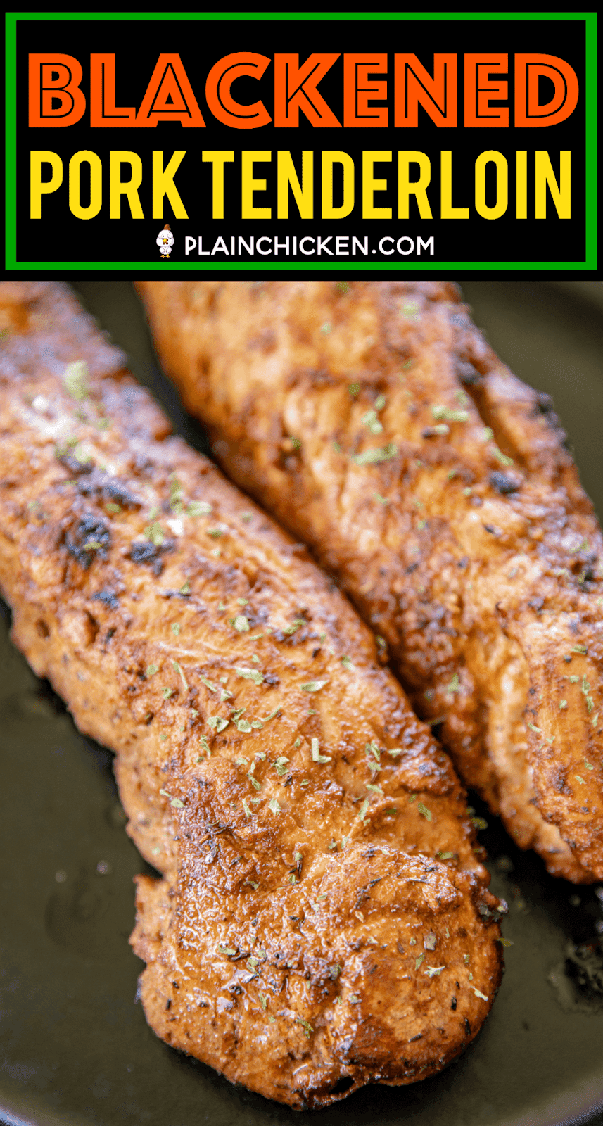 Blackened Pork Tenderloin - the BEST pork tenderloin EVER! SO much amazing flavor! Pork is marinated overnight in a mixture of garlic, onion, thyme, oregano, paprika, tarragon, salt, red pepper, black pepper, olive oil and Worcestershire sauce. Quickly pan sear the pork tenderloins and finish off in the oven. SO easy and delicious! Leftover are great on roll with remoulade sauce. Don't miss this one! #pork #porktenderloin