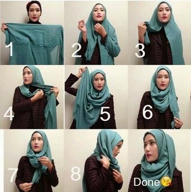 Gambar Cara Memakai Hijab Pashmina Lilit Gaya Baru