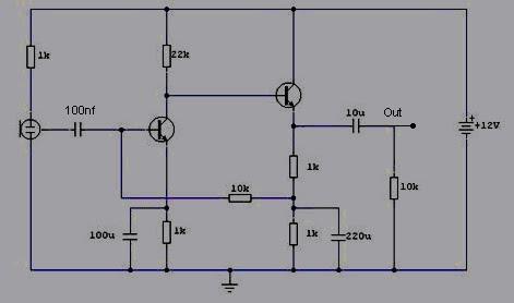 Schematic & Wiring Diagram: Pre-Amp Condenser Microphone