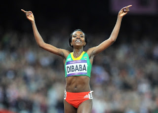 Tirunesh Dibaba, Ethiopian long distance track athlete has three gold medals and is the current World and Olympic 10,000 meters champion.