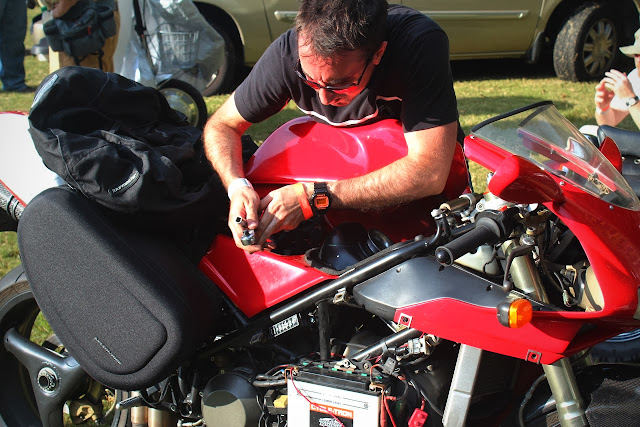 Jason Cormier working on his Ducati 916 OddBike
