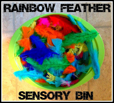 Rainbow feather sensory bin for toddlers from House of Burke