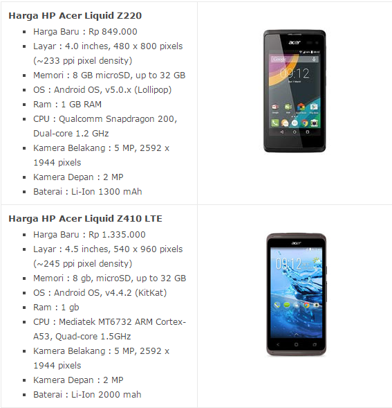 Daftar Harga HP Acer Android Desember 2016