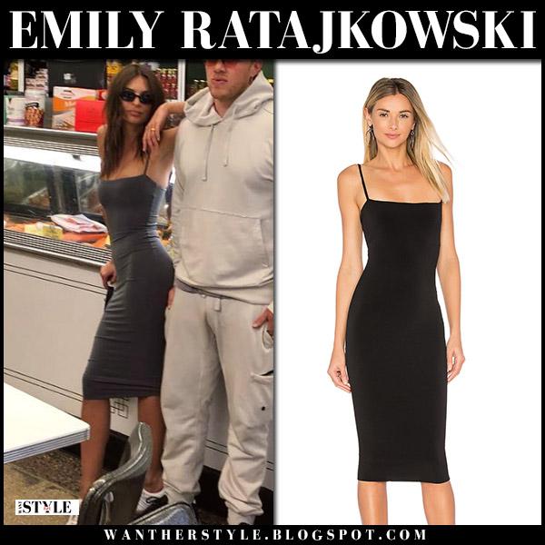 Emily Ratajkowski in black midi dress model style may 1