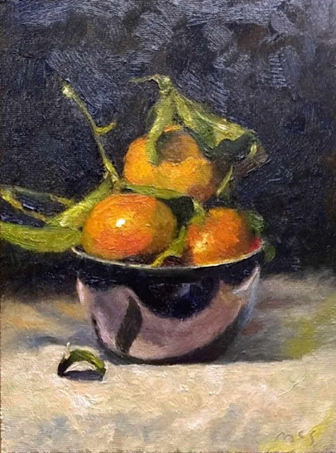 180222 Bowl of Clementines daily painting oils still life