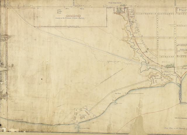 Plan of ordnance lands in the City of Toronto, made from actual survey by S. Fleming, Esqre. in the spring of 1852, under instructions from the Royal Engineers