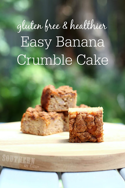 Easy Gluten Free Banana Crumble Cake Recipe - gluten free, nut free, clean eating friendly, low fat