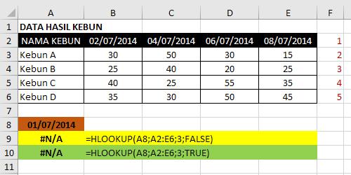 Contoh Fungsi-Rumus Hlookup Excel 3
