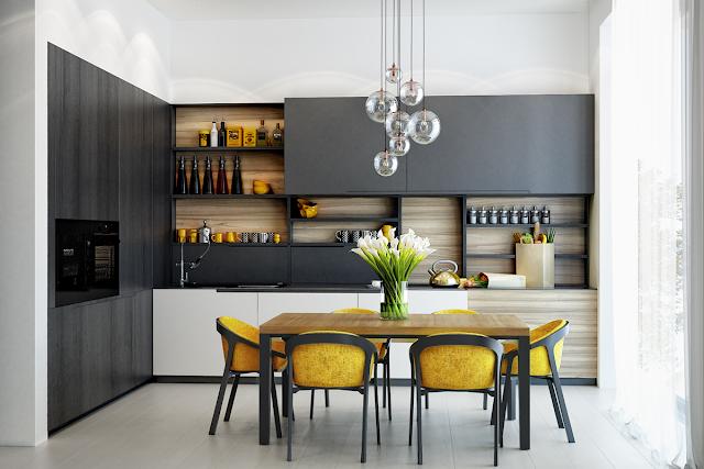 желтая мебель в кухне