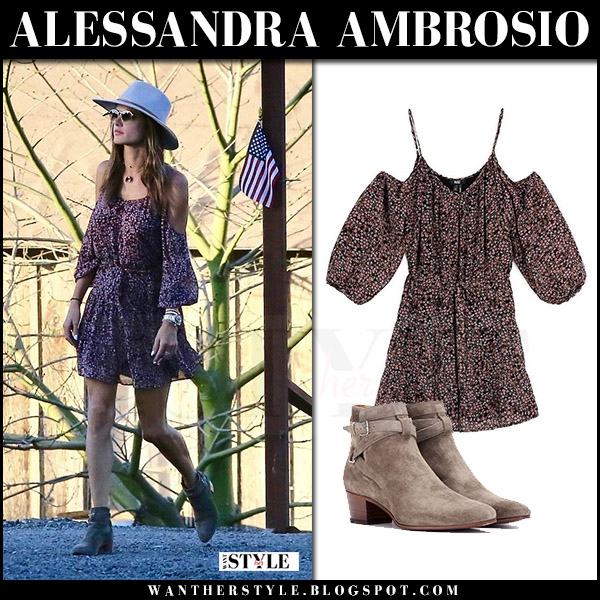 Alessandra Ambrosio in off shoulder mini dress and ankle boots saint laurent what she wore model style 2017