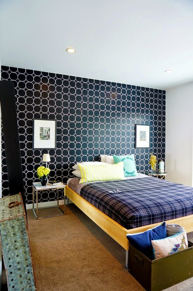 wallpaper stenciled wall alternative headboard solution