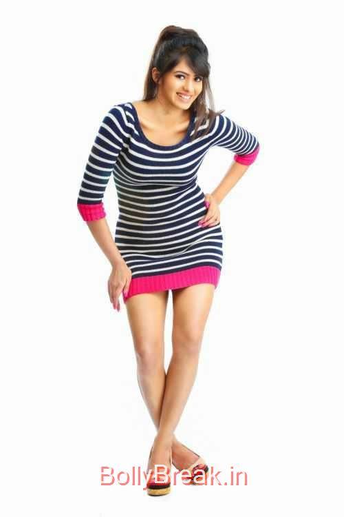 Deepa-Sannidhi-Photo-Stills-2, Deepa Sannidhi Hot HD Images in Black White Striped Dress