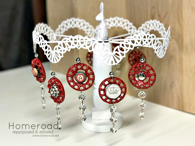 Repurposed lamp ornament display