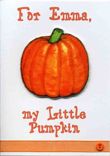A card with a felt pumpkin on the front. Personalized with your child or grandchild's name.