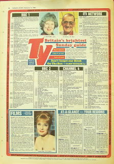 Back page with TV guide from February 1988 edition of the Sunday Sport