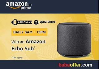 Amazon Echo Sub Quiz Time Contest Answers 14 December 2018
