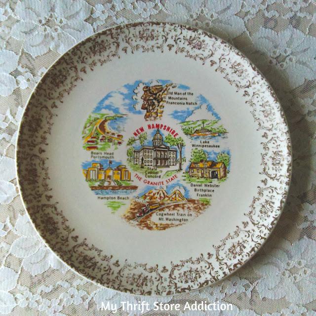 vintage New Hampshire state souvenir plate