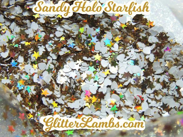 """Glitter Lambs """"Sandy Holo Starfish"""" Loose Glitter Mix Craft Glitter Nail Art Glitter Gold Holographic Stars Gold Holographic Hearts Glitter"""
