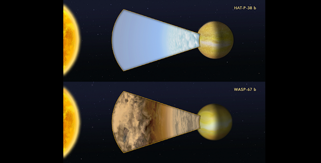 "This illustration compares the atmospheres of two ""hot Jupiter""-class planets orbiting very closely to different sunlike stars. The planets are too far away for the Hubble Space Telescope to resolve any details. Instead, astronomers measured how the light from the parent stars is filtered through each planet's atmosphere. Hubble was used to measure the spectral fingerprint caused by the presence of water vapor in the atmosphere. HAT-P-38 b did have a water signature, indicating the upper atmosphere is free of clouds or hazes. By contrast, a very similar hot Jupiter, WASP-67 b, showed no water vapor, suggesting that most of the planet's atmosphere is masked by high-altitude clouds. Credit: Illustration: NASA, ESA, and Z. Levy (STScI)"