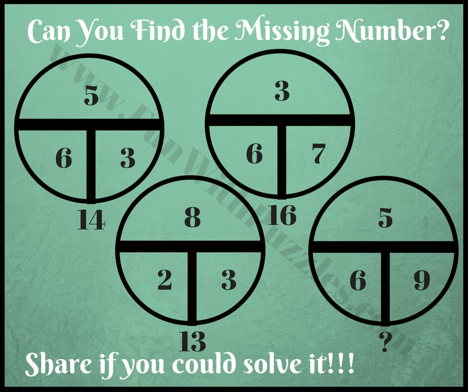 Circle Math Puzzles with answers to find Missing number - Fun With ...