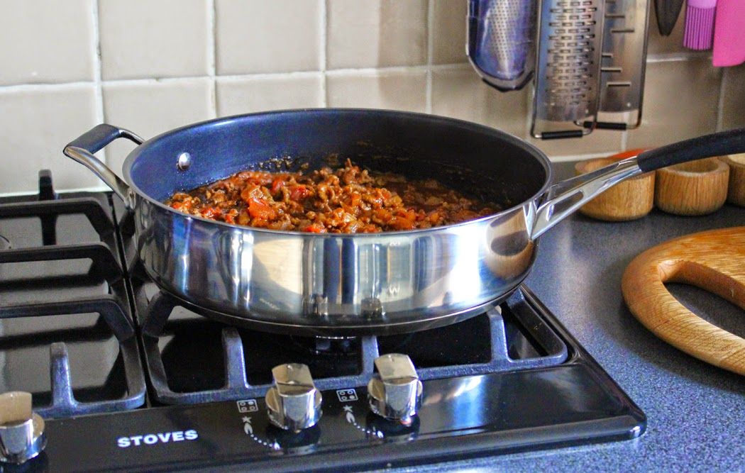 Minced Beef and Carrots Cooking
