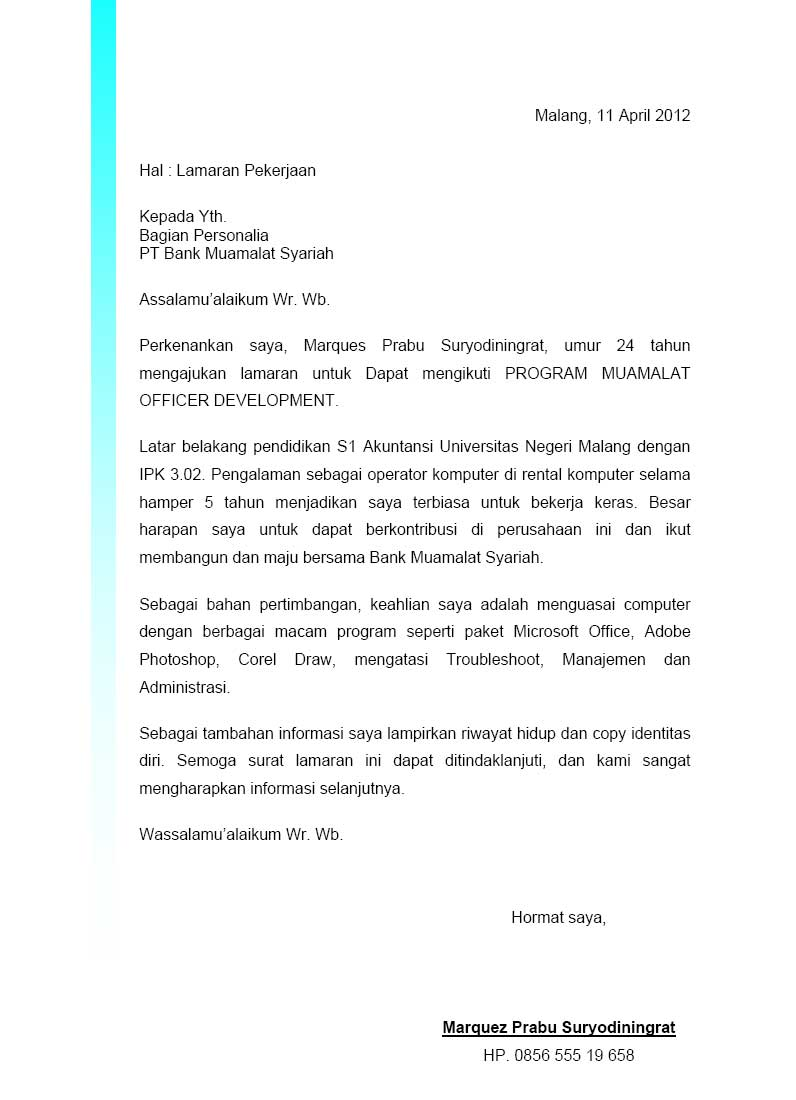 contoh cover letter odp bni