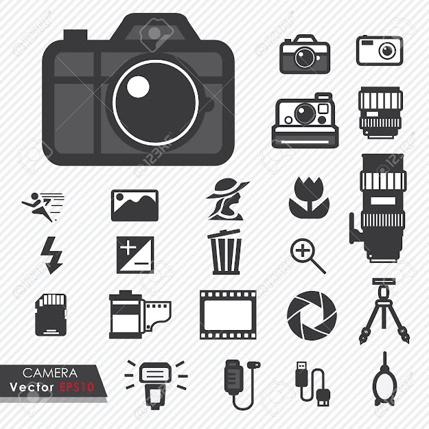 Photography Camera Lens And Accessories Set Vector Icons Stock Vector