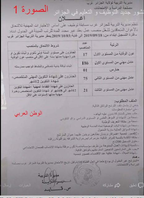 توظيف مديرية التربية  أكثر من 350 منصب بولاية الجزائر غرب