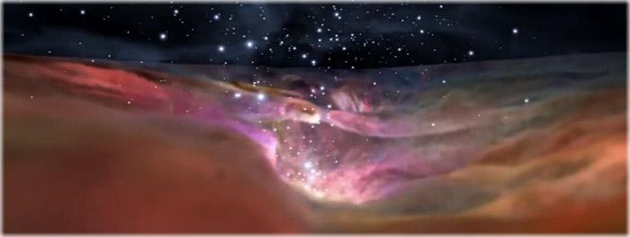 video em 3d pela nebulosa de orion
