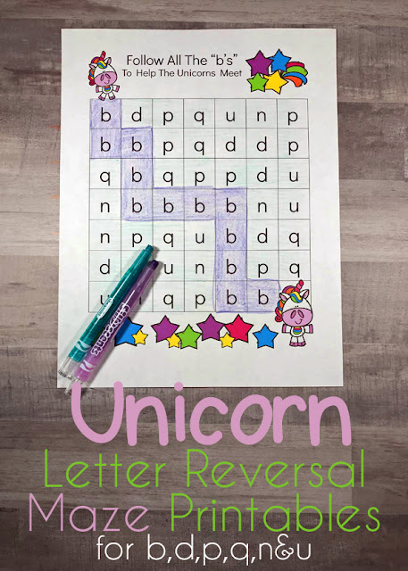 FREE B and D Maze Worksheets - help kid practice identifying letters b d which preschool, kindergarten, and first graders often mix up with this fun, letter game! Also includes worksheets for working on p q and n u #letterreversal #lettersbd #kindergarten