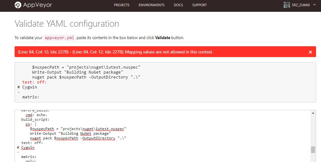 ブログズミ: AppVeyor のジョブを1つのマトリックスにまとめました