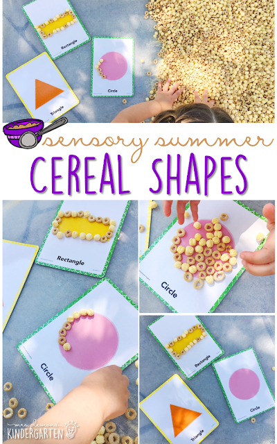 Practice fine motor skills and shape recognition with this cereal filled sensory bin! This is a perfect activity for summer tot school, preschool, or kindergarten!