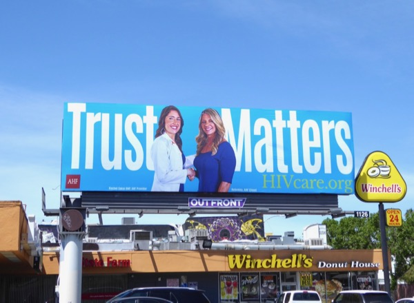 Trust Matters HIV Care blue billboard