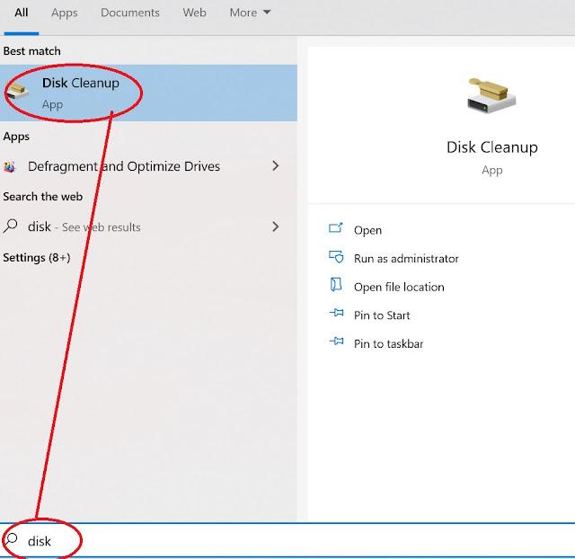 gambar cara buka disk cleanup di windows 10